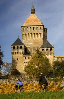 Bergfried Schloss Vufflens-le-Château, Schweiz