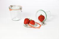 Mason jars and fresh strawberries