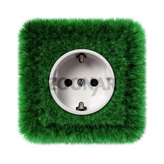 grüne Steckdose mit Gras bewachsen