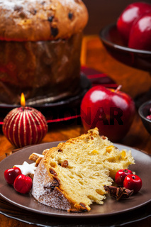 Slices of panettone - traditional Italian Christmas cake