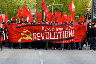 Protesters Marching at May Day Demonstration