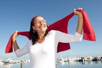 Happy active retirement woman