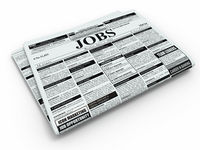Search job. Newspaper with advertisments.