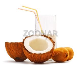 coconut, kiwi and glass with coco milk
