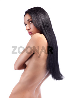 Sexy woman with long hair isolated on white