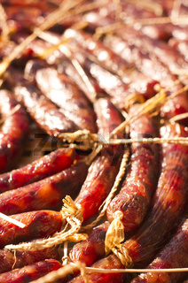 close up of chinese sausages