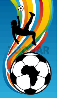 Soccer Player Illustration about to kick the football