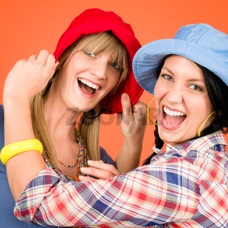 Two young friends woman funny outfit