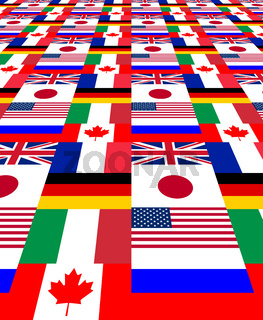 National flags of the G8 countries