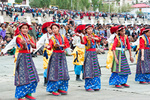 Tibetan youth performing folk dance