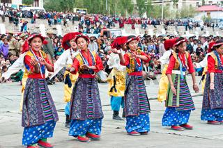 Tibetan youth performing folk dance