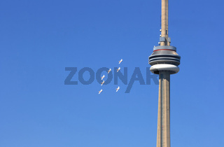 Flying in formation around CN-Tower.