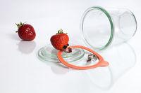 Strawberries and mason jar