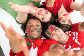 Portuguese football fans reaching out