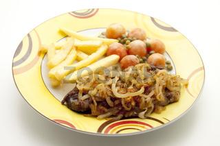 Steak mit Zwiebeln