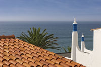 Chimney and roof with sea view in Albufeira