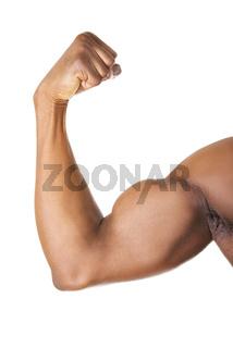 Muscular hand close up