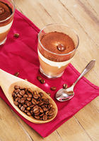 coffee dessert on wooden background
