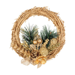 Christmas golden wreath with coniferous branch on the white isolated background