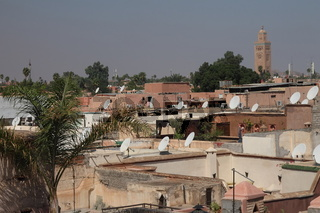 Roofs of Marrakesh as seen from Badia Palace. Morocco.