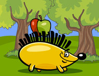 hedgehog with apple cartoon illustration