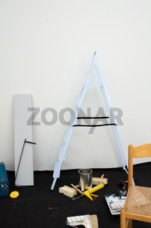 A ladder and equipment