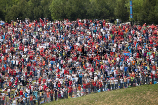 BARCELONA - MAY 9: Big quantity of spectators expects beginning The Formula 1 Grand Prix on autodrome 'Catalunya Montmello' on may 9