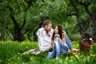 Enamoured couple on picnic