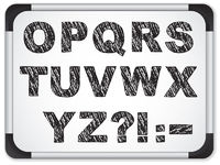 Black Alphabet on Whiteboard