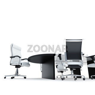 Table and armchairs in modern office for presentation and conferences