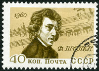 USSR - 1960: shows portrait of Frederic Chopin (1810-1849), by Eugene Delacroix, Polish composer, 150th Birth Anniversary of Frederic Chopin