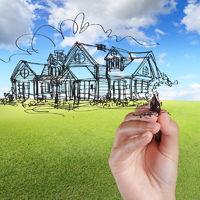 hand draw house against blue sky