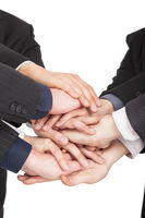 all business people hand together for teamwork con