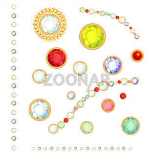 Collection of gems isolated on white background.