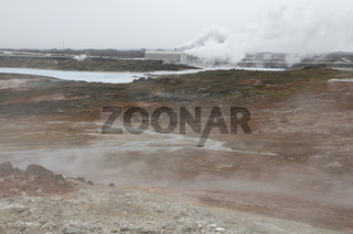 Gunnuhver geothermal field and Reykjanes Power Station - the geothermal power station. Reykjanes Peninsula