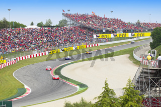 BARCELONA - MAY 9: Cars in action during Porsche Mobil 1 Supercup at autodrome 'Catalunya Montmello' on May 9