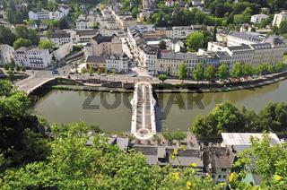 Fussgängerbrücke über die Lahn, Bad Ems, Rheinland-Pfalz, Deutschland, Europa