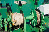 Close up rope on mechanism at ferry boat deck