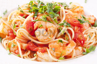 Spaghetti Diablo with chili king prawn