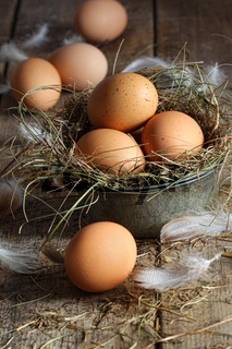 Fresh brown eggs on wood background