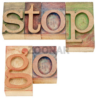 stop and go words in wood type