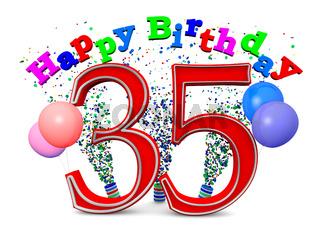 Eine 35 mit Happy Birthday und Ballons