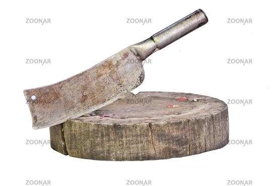 Meat Cleaver Stuck In Wood