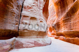 The Siq - narrow gorge to ancient city Petra