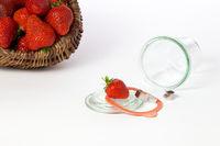 Mason jar and strawberry basket