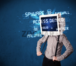 Monitor head person with hacker type of signs on the screen