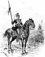 Historical drawing, a Prussian Uhlan, Franco-Prussian War or Fra