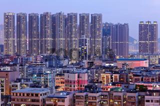 Hong Kong downtown with many building at night