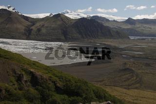 Hvannadalshnúkur and Svínafellsjökull. Hvannadalshnúkur (2110m) is the highest peak in Iceland. Skaftafellsjökull is one of the outlet glaciers (glacier tongues) of the Vatnajökull ice cap. Skaftafell