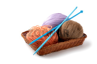 Balls of a yarn knitting spokes